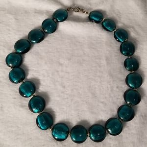 Turquoise colored glass necklace